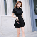 Dress Summer 2020 Black 8073 suit, white 8073 suit S,M,L,XL,2XL Short skirt Two piece set Short sleeve commute stand collar High waist Animal design zipper A-line skirt routine Others 30-34 years old Type A 71% (inclusive) - 80% (inclusive) knitting nylon