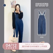 Women's large Spring 2021 Blue Suspenders Large L, large XL, m, 2XL, 3XL, 4XL trousers singleton  street easy moderate Conjoined Other, solid Denim 25-29 years old pocket 51% (inclusive) - 70% (inclusive) trousers straps