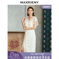 Dress Summer 2020 white 01/S 02/M 03/L longuette singleton  Short sleeve commute V-neck middle-waisted Dot zipper Ruffle Skirt Flying sleeve Others 25-29 years old Type X MaxRieny Retro More than 95% other polyester fiber Polyester 100% Same model in shopping mall (sold online and offline)