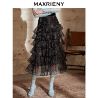 skirt Spring 2021 01/S 02/M 03/L Black and white flower longuette commute High waist Cake skirt Broken flowers Type H 25-29 years old MC8310230011SK0 More than 95% Chiffon MaxRieny polyester fiber printing Polyester 100% Same model in shopping mall (sold online and offline)