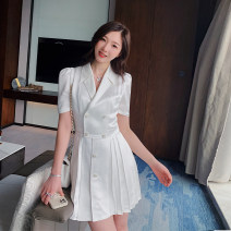 Dress Summer 2021 white S,M,L Short skirt singleton  Short sleeve commute tailored collar High waist Solid color double-breasted A-line skirt routine Others 18-24 years old Type A Korean version Button SF025100002 71% (inclusive) - 80% (inclusive) Crepe de Chine Cellulose acetate
