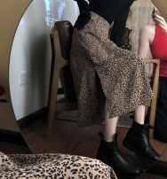 skirt Autumn 2020 Medium length skirt High waist commute A-line skirt Leopard Print Type A 30% and below 18-24 years old cy8Bc Ezrin Korean version S,M,L White, coffee