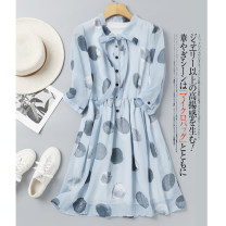 Dress Spring 2020 blue S M L XL Middle-skirt singleton  three quarter sleeve commute Crew neck middle-waisted Dot Socket A-line skirt shirt sleeve Others 30-34 years old Type A CATHYLADI / Cass · Lardy Ol style Lace up printing W17052303W-1 More than 95% Chiffon polyester fiber