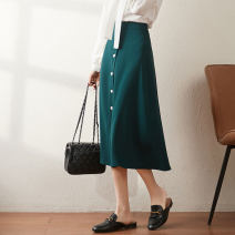 skirt Summer 2021 27 28 29 30 Black green red longuette commute High waist A-line skirt Solid color Type A 30-34 years old CT03121603 More than 95% Wool CATHYLADI / Cass · Lardy other Button Other 100%