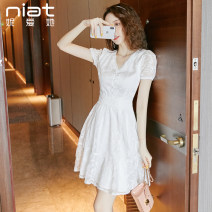 Dress / evening wear Weddings, adulthood parties, company annual meetings, daily appointments S M L white Sweet Short skirt High waist Summer 2020 A-line skirt Deep collar V zipper 18-25 years old 6226A Short sleeve Solid color NIAT puff sleeve Polyester 100% 96% and above
