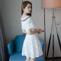 Dress Summer of 2019 white S M L Short skirt singleton  Short sleeve commute One word collar High waist Solid color zipper A-line skirt routine Others 25-29 years old Type A NIAT lady Resin fixation of hollow splicing zipper 1400A 51% (inclusive) - 70% (inclusive) nylon Pure e-commerce (online only)
