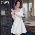 Dress Summer of 2019 S M L XL Short skirt singleton  Short sleeve commute One word collar High waist Solid color zipper A-line skirt bishop sleeve Others 25-29 years old NIAT Korean version Resin fixation of stitched zipper 91% (inclusive) - 95% (inclusive) polyester fiber