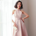 Dress Spring of 2019 XL S M L Mid length dress singleton  Sleeveless commute stand collar High waist Solid color zipper A-line skirt routine Others 25-29 years old NIAT lady More than 95% polyester fiber Polyester 100% Pure e-commerce (online only)