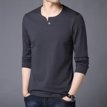 T-shirt Fashion City routine Extravagant fashion Long sleeves V-neck standard daily spring Cotton 95% polyurethane elastic fiber (spandex) 5% youth routine Youthful vigor Woven cloth Spring of 2019 Solid color Button decoration Cotton ammonia No iron treatment Domestic famous brands