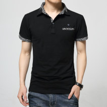 T-shirt Business gentleman routine Extravagant fashion Short sleeve Lapel Self cultivation go to work spring Cotton 95% polyurethane elastic fiber (spandex) 5% youth routine Business Casual Knitted fabric Spring of 2018 Solid color pocket cotton Art theme No iron treatment Domestic famous brands