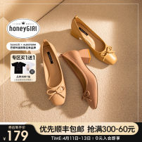 Low top shoes 34 35 36 37 38 39 honeyGIRL Square head PU Thick heel Middle heel (3-5cm) Shallow mouth PU Spring 2021 Trochanter Sweet Adhesive shoes Youth (18-40 years old) Solid color rubber Single shoes bow PU leisure time Pure e-commerce (online only)