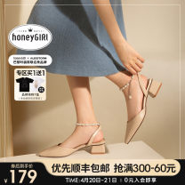 Sandals 34 35 36 37 38 39 Beige [spot] apricot [spot] pearl chain thick heel Baotou sandals Superfine fiber honeyGIRL Square head Thick heel Middle heel (3-5cm) Summer 2021 Flat buckle Europe and America Solid color Adhesive shoes Youth (18-40 years old) rubber daily Ankle strap Chain pearl PU PU