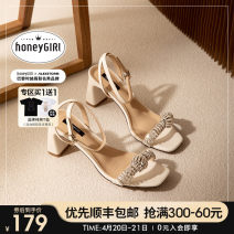 Sandals 34 35 36 37 38 39 Superfine fiber honeyGIRL Barefoot Thick heel High heel (5-8cm) Summer 2021 Flat buckle Europe and America Solid color Adhesive shoes Youth (18-40 years old) rubber daily Ankle strap Buckle drill thick heel Lateral space PU PU Flat buckle