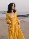 Dress Summer 2021 Yellow embroidery S,M,L longuette singleton  Long sleeves commute square neck High waist other zipper Big swing puff sleeve Others Type A Other / other Retro 81% (inclusive) - 90% (inclusive) other