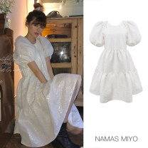 Dress Summer 2020 white S, M Short skirt singleton  Short sleeve commute Crew neck Solid color Socket Princess Dress puff sleeve Others 30-34 years old Type A NAMAS MIYO lady More than 95% other other