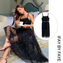 Dress Winter 2020 black S,M,L Mid length dress singleton  Sleeveless commute Elastic waist Solid color other other other camisole 30-34 years old Type A IFAY BY FAYE lady More than 95% nylon