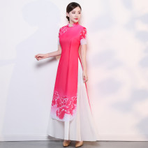 cheongsam Summer of 2018 S M L XL XXL XXXL 4XL 5XL Short sleeve long cheongsam ethnic style High slit perform Round lapel Decor Over 35 years old Piping A thousand thoughts other New polyester 85% others 15% Pure e-commerce (online only) 81% (inclusive) - 90% (inclusive)