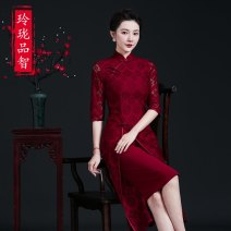 cheongsam Spring 2021 M L XL XXL XXXL claret Short sleeve long cheongsam court High slit wedding Oblique lapel Decor Over 35 years old Piping Exquisite taste of wisdom polyester fiber Polyester 100% Pure e-commerce (online only)