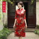 cheongsam Spring of 2019 M L XL XXL XXXL gules three quarter sleeve long cheongsam ethnic style Low slit daily Square placket Decor Over 35 years old Piping Exquisite taste of wisdom silk Mulberry silk 92.7% polyurethane elastic fiber (spandex) 7.3% Pure e-commerce (online only)