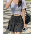 skirt Spring 2021 S,M,L Black grey Short skirt commute High waist A-line skirt Type A 18-24 years old other cotton Korean version