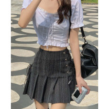 skirt Spring 2021 S,M,L Black grey Short skirt commute High waist A-line skirt Type A 18-24 years old other cotton Korean version