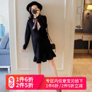 Dress Huanxin black Average size Korean version Long sleeves Medium length autumn Crew neck Solid color