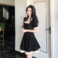 Dress Summer 2021 black S,M,L Short skirt singleton  Short sleeve commute square neck High waist Solid color zipper A-line skirt puff sleeve Type A Korean version 20-3004
