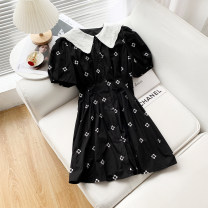 Dress Spring 2021 black M,L,XL Mid length dress singleton  Short sleeve Sweet Doll Collar middle-waisted puff sleeve Others 25-29 years old 51% (inclusive) - 70% (inclusive) other other