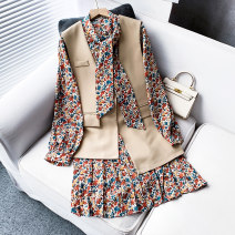 Dress Spring 2021 Black, beige M, L Mid length dress Two piece set Long sleeves commute Scarf Collar Broken flowers Socket routine 25-29 years old Korean version Chiffon other