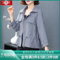 Middle aged and old women's wear Spring 2021 Light blue Khaki XL (90-110 Jin recommended) 2XL (110-125 Jin recommended) 3XL (125-140 Jin recommended) 4XL (140-160 Jin recommended) fashion Jacket / jacket easy singleton  Solid color 40-49 years old Cardigan moderate Polo collar routine BLHK6D2106 belt