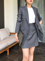 Professional dress suit Black [top], black [pants], black [skirt], carbon grey [top], carbon grey [pants], carbon grey [skirt] Summer 2020 Long sleeves Other styles A-line skirt 25-35 years old 51% (inclusive) - 70% (inclusive) polyester fiber