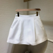 skirt Autumn 2020 S,M,L White, black Short skirt High waist A-line skirt Solid color Other / other