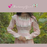 Dress Autumn 2020 Girl powder deposit S, M Mid length dress singleton  Long sleeves commute stand collar High waist Solid color zipper Big swing Princess sleeve Others 18-24 years old Type X court Bowknot, ruffle, crochet, cut-out, lace up, stitching, button, mesh, zipper Lace cotton