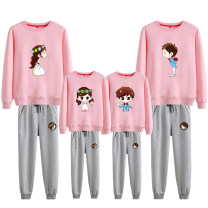 Parent child fashion A family of three Male and female nuclear energy Parent child suit spring and autumn leisure time routine Cartoon animation suit cotton L M S XL XXL Cotton 83% polyester 17% Class B S M L XL XXL Autumn of 2018 Chinese Mainland