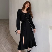 Dress Autumn 2021 Black, white S,M,L Mid length dress singleton  Long sleeves commute square neck High waist Solid color Socket Big swing shirt sleeve 18-24 years old Retro Ruffles, lace, bandage