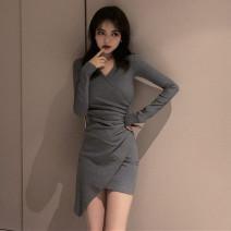 Dress Autumn 2021 Gray, black S,M,L Short skirt singleton  Long sleeves commute V-neck High waist Solid color Socket Irregular skirt routine 18-24 years old Type A Korean version Asymmetry