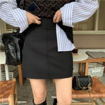 skirt Autumn 2021 S, M black Short skirt Retro High waist A-line skirt Solid color Type A 18-24 years old