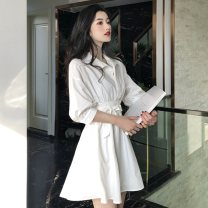Dress Summer 2021 white Average size singleton  elbow sleeve commute Loose waist Solid color Socket A-line skirt puff sleeve 18-24 years old Type A Korean version Lace up