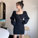 Dress Spring 2021 Black, gray Average size Short skirt singleton  Long sleeves commute square neck High waist Solid color Socket One pace skirt puff sleeve 18-24 years old Retro