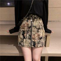 skirt Autumn 2021 S,M,L Kitty Short skirt Retro High waist A-line skirt Type A 18-24 years old zipper