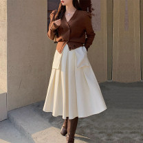 skirt Winter 2021 S, M Apricot, grey Mid length dress Retro High waist Pleated skirt Solid color Type A 18-24 years old
