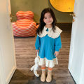 Dress Blue, pink female Other / other 80cm,90cm,100cm,110cm,120cm Other 100% spring and autumn Korean version Long sleeves Solid color cotton Lotus leaf edge other 2 years old, 3 years old, 4 years old, 5 years old, 6 years old Chinese Mainland Zhejiang Province Huzhou City