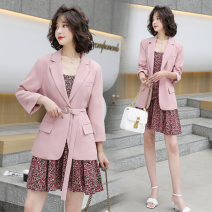Dress Spring 2021 Beige Pink Black M L XL XXL Mid length dress Two piece set Long sleeves commute tailored collar High waist Broken flowers Socket Pleated skirt routine camisole 25-29 years old Type A Kiss Heng Korean version Button print on pocket More than 95% other Other 100%