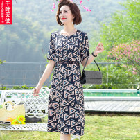 Middle aged and old women's wear Summer 2021 Blue red XL 2XL 3XL 4XL 5XL fashion Dress easy singleton  Decor 40-49 years old Socket thin Crew neck Medium length routine Chiba angel polyester Polyester 100% 96% and above Pure e-commerce (online only) longuette Polyester