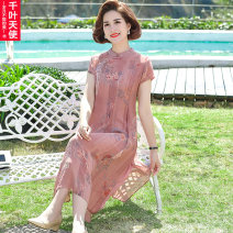 Middle aged and old women's wear Summer 2021 Pink Green XL 2XL 3XL 4XL 5XL fashion Dress easy singleton  Decor 40-49 years old Socket thin Crew neck Medium length routine QYTS2021XTAM8180 Chiba angel polyester Polyester 100% 96% and above Pure e-commerce (online only) longuette Polyester