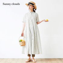 Dress Summer 2020 MP LL 3L MT LT M L longuette singleton  elbow sleeve commute stand collar other Single breasted A-line skirt routine 30-34 years old Type A Sunny clouds / sunnykula literature More than 95% cotton Cotton 100%