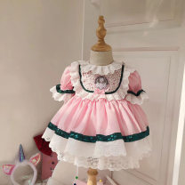 Dress Pink female Other / other 80cm,90cm,100cm,110cm,120cm,130cm Other 100% summer princess cotton Cake skirt Class A 12 months, 18 months, 2 years old, 3 years old, 4 years old, 5 years old, 6 years old