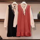 Women's large Spring 2021 Black, brick red Large size L [90-115 Jin recommended], large XL [115-135 Jin recommended], large 2XL [135-155 Jin recommended], large 3XL [155-175 Jin recommended], large 4XL [175-200 Jin recommended] Dress Fake two pieces commute easy moderate Socket Long sleeves other bow