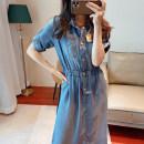 Dress Summer 2021 Light indigo S,M,L,XL longuette singleton  Long sleeves Sweet V-neck High waist Solid color Single breasted A-line skirt routine Type A Button D248 Denim cotton