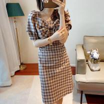 Dress Summer 2021 Hepburn white opaque, classic black, French plaid S,M,L,XL singleton  stand collar High waist bishop sleeve D253 other